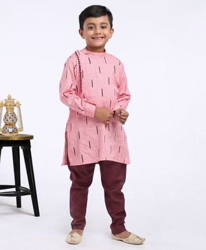 Ethniks Neu Ron Full Sleeves Kurta Pyjama Set - Pink