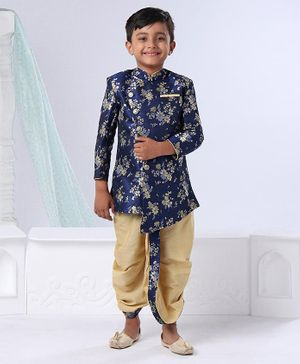 Ethnik's Neu Ron Full Sleeves Kurta & Dhoti Floral Design - Navy Blue Golden