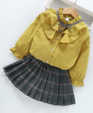 Kookie Kids Full Sleeves Top With Checked Skirt - Yellow