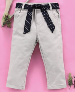 Reiki Trees Full Length Jeans With Polka Dot Print Belt - Cream