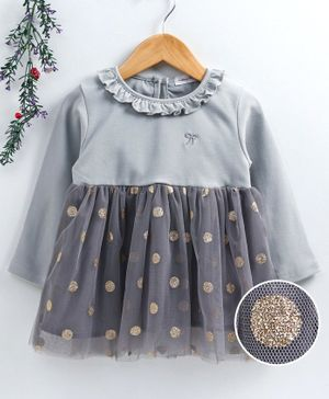 Reiki Trees Full Sleeves Frock Polka Dot Print - Grey