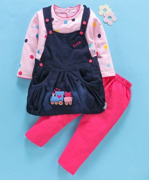 U R Cute Full Sleeves Polka Dot Print Top With Pinafore Dress & Leggings Set - Pink