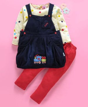 U R Cute Full Sleeves Polka Dot Print Top With Pinafore Dress & Leggings Set - Red