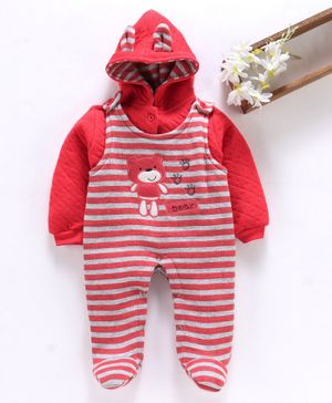 U R Cute Full Sleeves Hooded Jacket With Striped Romper - Red
