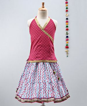 Kidcetra Golden Lace Detailed Sleeveless Choli With Zig Zag Print Lehenga - Pink & Blue