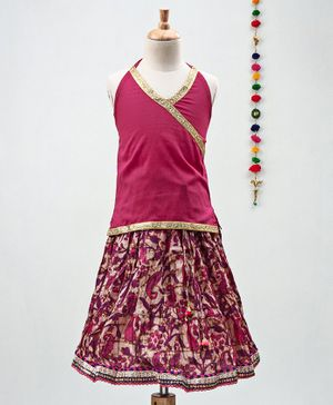 Kidcetra Golden Lace Detailed Sleeveless Choli With Paisley Printed Lehenga - Pink