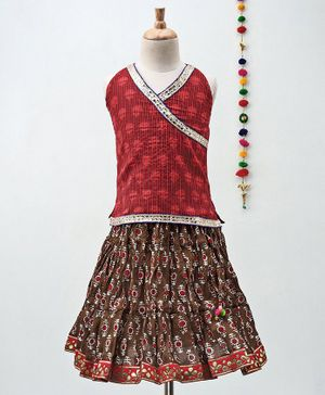 Kidcetra All Over Print Sleeveless Choli & Lehenga - Red