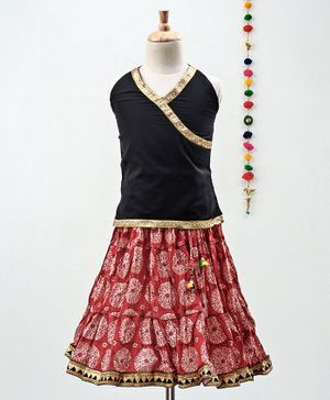 Kidcetra Golden Lace Detailed Sleeveless Choli With Circle Print Lehenga - Black & Red