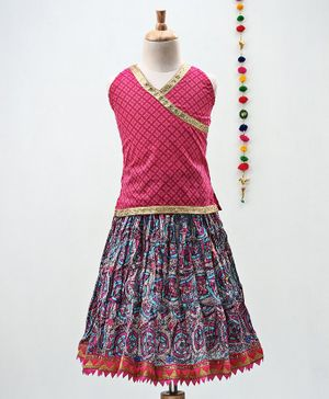 Kidcetra Flower Print Sleeveless Choli With Lehenga - Pink & Blue