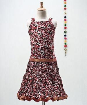 Kidcetra Flower Print Sleeveless Choli With Lehenga - Maroon