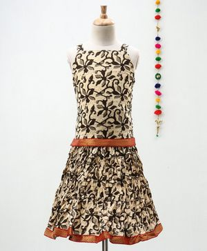 Kidcetra Flower Print Sleeveless Choli With Lehenga - Beige