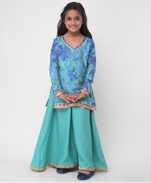 M'andy Bandhani Print Full Sleeves Kurti With Palazzo - Turquoise Blue
