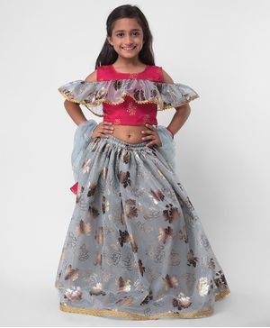 M'andy Half Sleeves Choli With Dupatta & Foil Print Lehenga - Pink & Silver