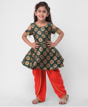 M'andy Flower Print Half Sleeves Peplum Kurti With Dhoti - Green