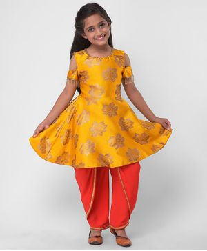 M'andy Flower Print Half Sleeves Peplum Kurti With Dhoti - Yellow