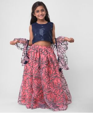 M'andy Sequin Detailed Sleeveless Choli With Dupatta & Lehenga - Blue & Pink