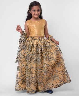 M'andy Sequin Detailed Sleeveless Choli With Dupatta & Lehenga - Golden