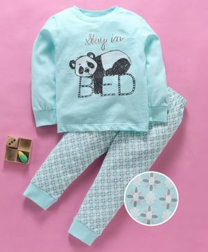 Lazy Bones Full Sleeves Night Suit Unicorn Print - Mint Green