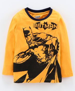 Eteenz Full Sleeves Tee Batman Print - Mustard