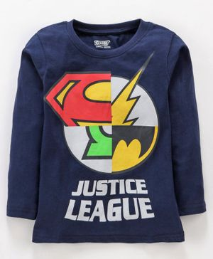 Eteenz Full Sleeves Tee Justice League Print - Navy Blue