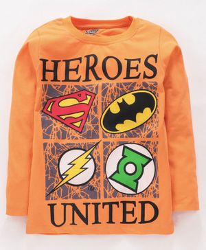Eteenz Full Sleeves Tee Justice League Print - Orange