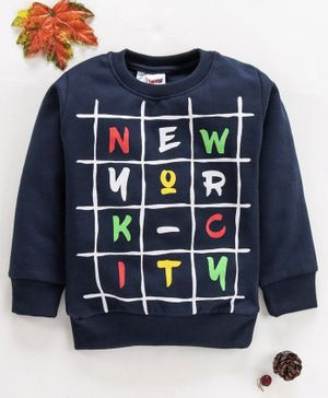 Eteenz Full Sleeves Winter Wear Tee Scrabble Print - Navy Blue