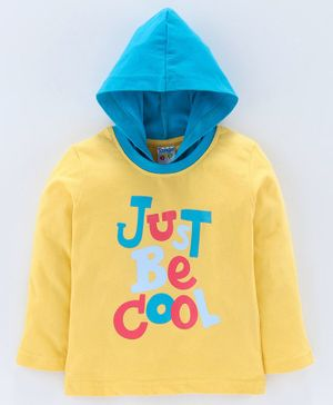 Tango Full Sleeves Hooded Tee Be Cool Print - Yellow