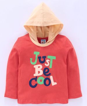 Tango Full Sleeves Hooded Tee Be Cool Print - Coral