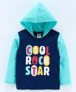 Tango Full Sleeves Hooded Tee Rock Star Print - Blue