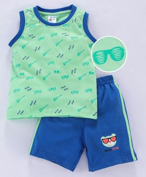Tango Sleeveless Tee And Shorts Rock Star Print - Green Blue