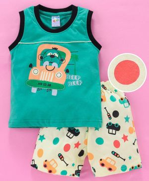 Tango Sleeveless Tee And Shorts Car Print - Green Yellow