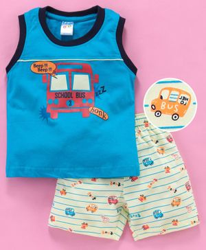 Tango Sleeveless Tee And Stripe Shorts School Bus Print - Blue Light Yellow