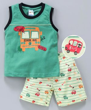 Tango Sleeveless Tee And Stripe Shorts School Bus Print - Green Light Yellow