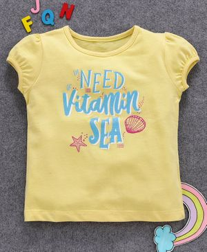 Aya Papaya Cap Sleeves Need Vitamin Sea Glitter Print Top - Yellow