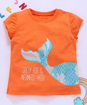 Aya Papaya Cap Sleeves Mermaid Tail Glitter Print Top - Orange