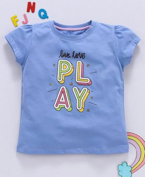 Aya Papaya Puffed Cap Sleeves Live Love Play Print Top - Blue