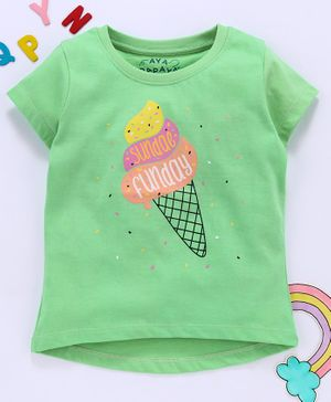 Aya Papaya Short Sleeves Ice Cream Print Tee - Green