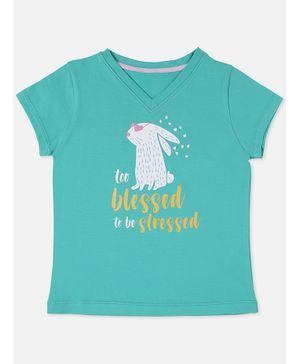 Aya Papaya Short Sleeves Too Blessed To Be Stressed Glitter Print Tee - Green