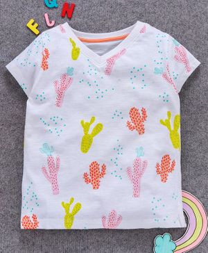 Aya Papaya Short Sleeves Cactus Print Tee - White