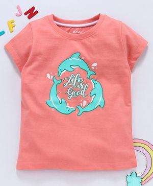 Aya Papaya Half Sleeves Life Is Good Glitter Print Tee - Peach