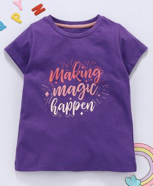 Aya Papaya Half Sleeves Making Magic Happen Glitter Print Tee - Purple