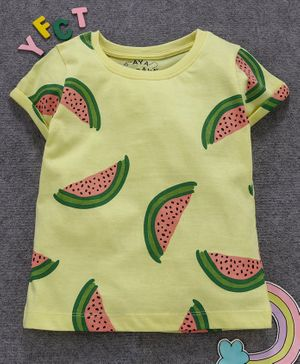 Aya Papaya Short Sleeves Watermelon Print Tee - Yellow