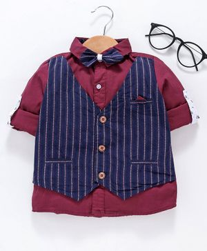 Kookie Kids Full Sleeves Party Wear Shirt With Bow - Maroon