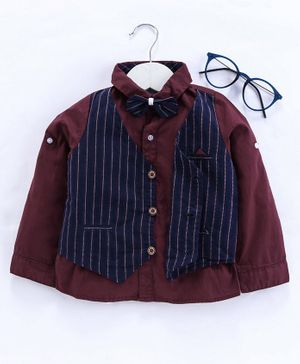 Kookie Kids Full Sleeves Party Shirt With Mock Waist Coat & Bow Tie - Maroon