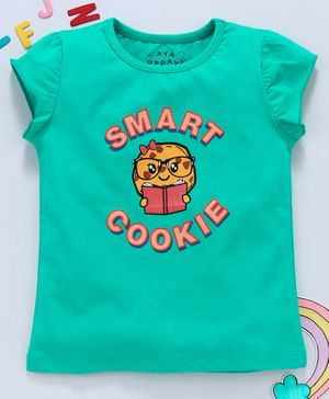 Aya Papaya Cap Sleeves Smart Cookie HD Print Top - Green