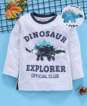 Babyhug Full Sleeves Tee With Colour Changing Sequin Dino Patch - Grey