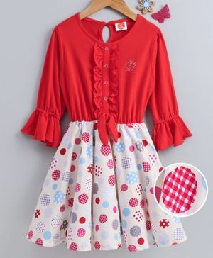 Dew Drops Full Sleeves Frock Polka Dot - Red