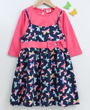Dew Drops Frock With Full Sleeves Inner Tee Butterfly Print - Navy Blue