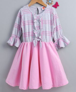 Dew Drops Full Sleeves Striped Frock - Pink Grey