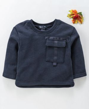 Memory Life Full Sleeves Winter Wear Tee - Navy Blue